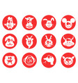 red cartoon cute chinese zodiac button icons set vector image