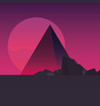 retro future label with mountains scene vector image
