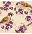 Seamless pansy and bird vector image vector image