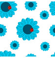 seamless pattern blue flowers and ladybug vector image