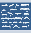 set ice caps snowballs snowdrifts icicles vector image