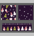 set of 3 seamless patterns in christmas colors vector image vector image
