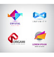 set of abstract origami logos icons vector image vector image