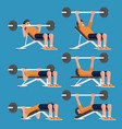 Set of man in weight training chest workout poses