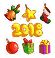 set of new year ornaments vector image vector image