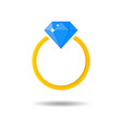 shiny jeweled golden ring diamond engagement and vector image