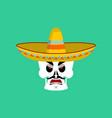 skull in sombrero angry emoji mexican skeleton vector image vector image