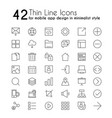 smartphone apps linear icons set mobile vector image vector image