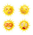 sun smiles cartoon emoticons and summer emoji vector image
