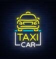 Taxi car design neon glowing logos concept