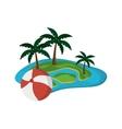 tropical island and beach ball icon vector image vector image