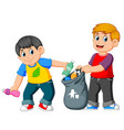 two boys collecting rubbish vector image vector image