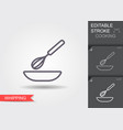 whisk and bowl line icon with editable stroke vector image vector image