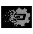 white shredded dot halftone dash setup gear icon vector image vector image
