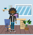 worker at home office vector image vector image