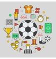 Football Soccer Line Art Thin Icons vector image