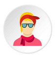 girl with glasses icon circle vector image