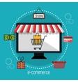 monitor store e-commerce isolated design vector image
