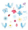 set of birds flowers and butterflies vector image