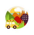 summer mountain landscape with car in logo circle vector image