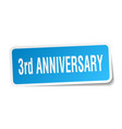 3rd anniversary square sticker on white vector image vector image