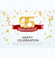 95 years anniversary banner template vector image vector image