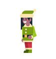 african american girl elf santa claus helper merry vector image vector image