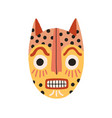 angry ethnic tribal cat mask showing teeth vector image