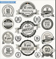 anniversary retro badges collection 90 years vector image vector image