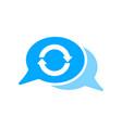 arrows bubble chat message refresh sync icon vector image vector image