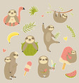 big set stickers with cute sloth vector image vector image