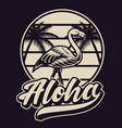 black and white with flamingo in vintage style vector image