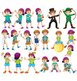Boy doing different activities vector image vector image
