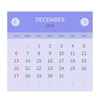 Calendar monthly december 2015 in flat design vector image vector image