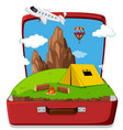 camping in the suitcase vector image vector image