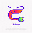 cartoon shrimp thin line icon vector image