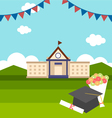 celebrations of graduation with background vector image vector image
