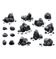 collection coal black mineral resources pieces vector image vector image