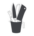 container with knives black silhouette and dotted vector image vector image