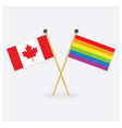 crossed canada flag and colorful pride flag icons vector image