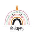 cute cartoon rainbow unicorn for baprint vector image vector image