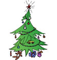 decorated green christmas tree vector image vector image