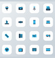 device icons colored set with socket printer pc vector image