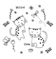 doodle of two lovely kittens vintage decorative vector image vector image