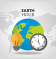 earth hour world clock bulb map background vector image vector image