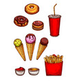 Fast food lunch sketch with fries soda dessert vector image