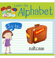 Flashcard letter S is for suitcase vector image vector image