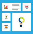 flat icon graph set of diagram monitoring easel vector image vector image