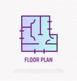 floor plan thin line icon vector image vector image