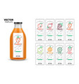 fresh juice packaging mockup set vector image vector image